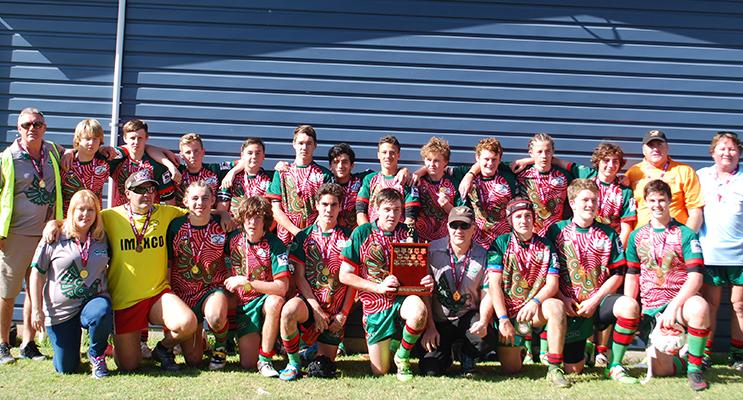 Team photo, Myall River Hawks under 15s grand final winning side.