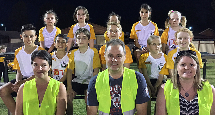 Disappointed Medowie Little Athletics Members. Jack Deguara, Elsie Horn, Mikayla Smith-Gow, Charlie Boyton, Harry Towers, Ethan Foster, Jack Ryner, Amelia Sloane, Lesley Kempf, Jason Walls, Marnie Coates, Kaylee Green, Charlotte Green and Ryah Coates. Photo by Rachael Vaughan