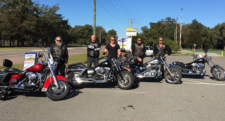 Rastes, Lurch, Roscoe, Budge, Wheels and Marcus with their Motorcycles