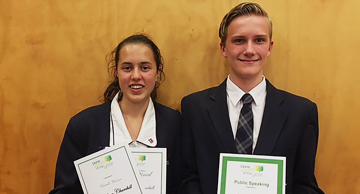 Overall winner Kathleen Churchill and Public Speaking award winner Sam Pollock. Photo by Medowie Lions Club