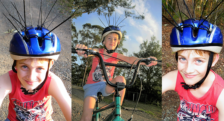 PREPARED: Cole Buchanan uses cable ties to deter magpies. (left) SWOOP: Cole Buchanan is prepared for Magpies. (center) PREPARED: Cole Buchanan uses cable ties on his helmet to deter swooping magpies. (right)