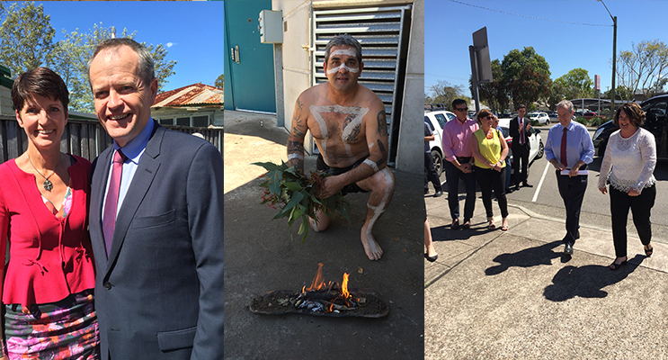Kate Washington and Bill Shorten (left) Justin Ridgeway, proud Worimi man, preparing for the smoking ceremony (center) Meryl Swanson walking Bill Shorten up to the ceremony to cheers from the crown( right)