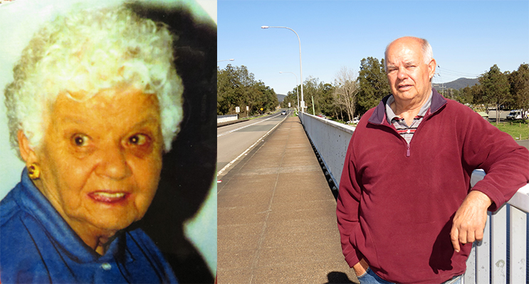 ADMIRED AND RESPECTED: Nan Syron.(left) HONOUR: Dennis Syron proudly stands on the Nan Syron Bridge. (right)