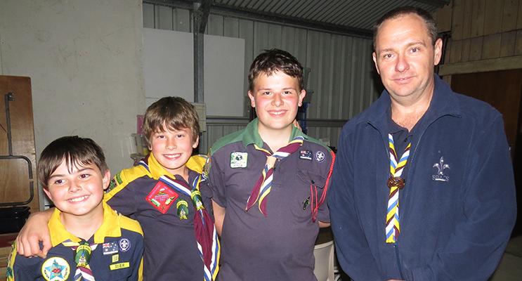 Connor Baker, Reefe Mirisch, Jayden Watling with Bulahdelah Scout Leader Colin Griffiths.