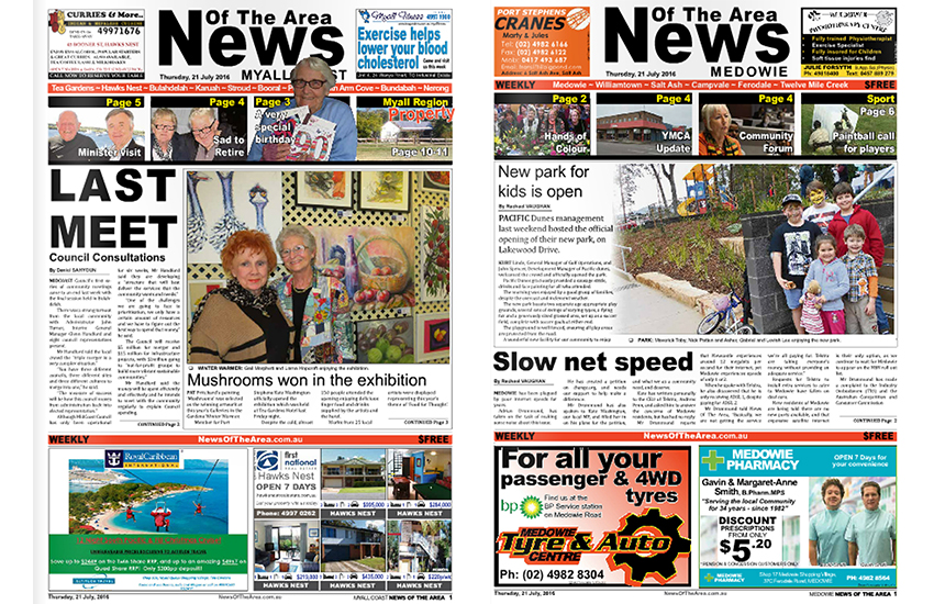 News Of The Area- Myall Coast and Medowie