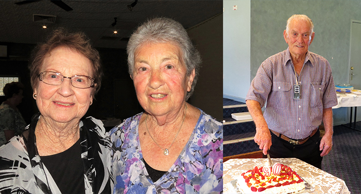 OLD FRIENDS: Joan Cheers and Irene Worth.(left) BIRTHDAY: Les Morgan celebrates his 90th Birthday.(right)