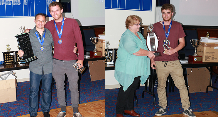 Josh Page Most Tries with 23 tries ( left) Colleen Barry presenting the Rookie of the Year to Nathan Ritzau(right)