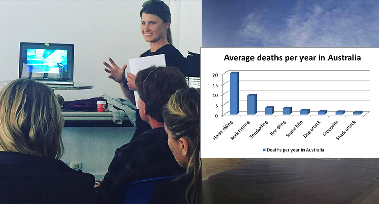 Lisa Mondy talks to a Captive Audience -(Photo courtesy Jewell Drury)(left) More people die from snake bites than Shark bites in Australia (photo courtesy of Sapphire Coast Marine Discovery) (right)