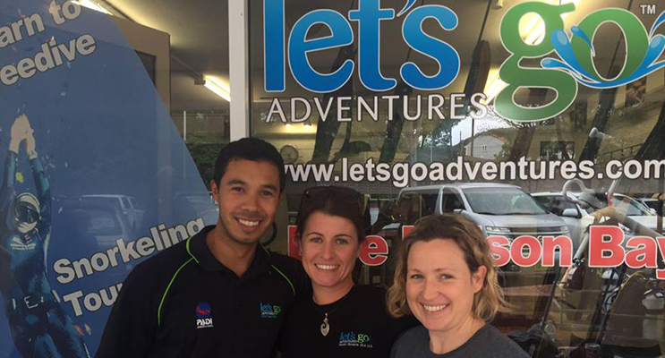 Dive Instructor Joao Mendes and Let's Go Adventures Director Emma Challen with Lisa Mondy(c) (Photo courtesy of Jewell Drury)