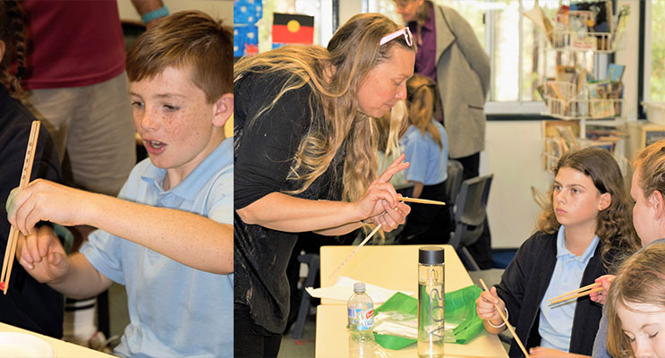 LANGUAGE: Students practice using chopsticks. ( left) CHINESE: BCS Language Teacher Ms Cunich demonstrates how to use chopsticks. (right)