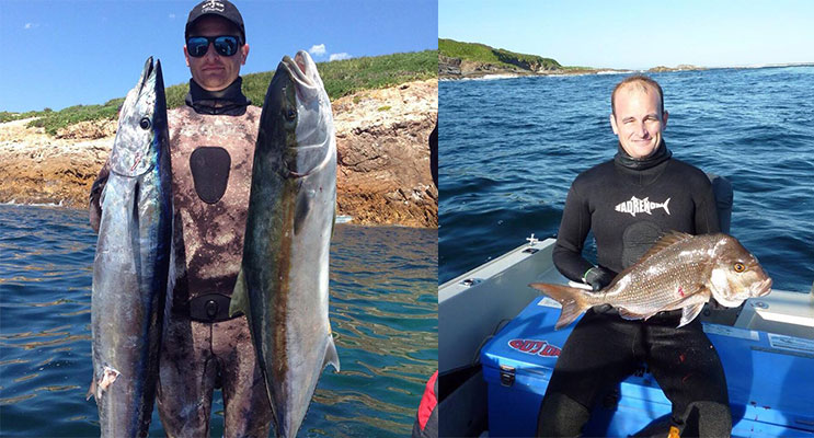 Kyle Johnston with his 15 kg kingfish and 13kg Wahoo speared at Broughton Island..( left) Kyle Johnston with his 3.5 kg Snapper from North rock at Broughton Island.(right)