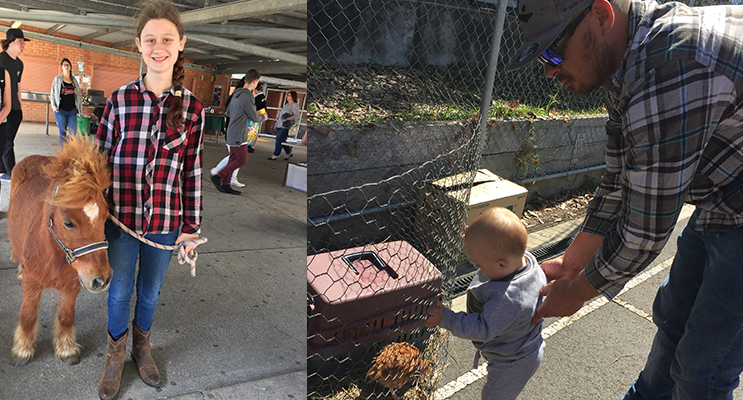 Lauren Bury with LuLu the Pony(left) Young Rivah Noake meets some chickens at the animal petting zoo ( right)