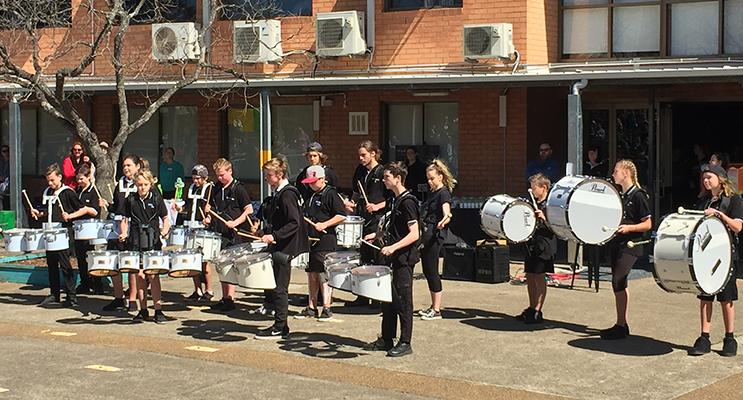 The Irrawang High junior drummers
