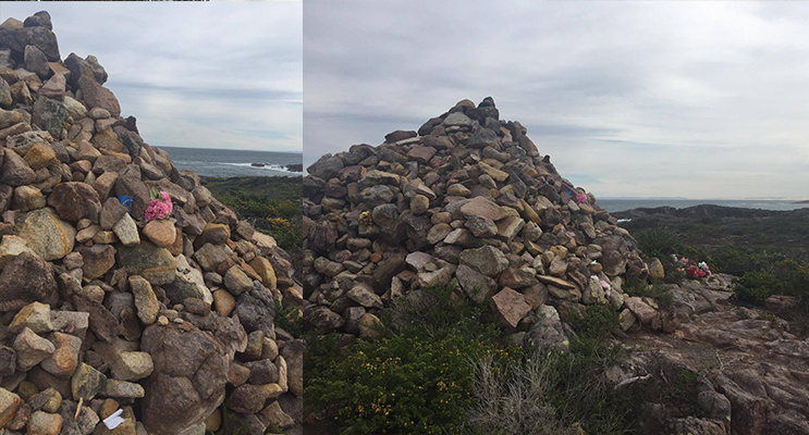 7ft Cairn memorial stone monument.(left) Memorial Monument looking over the coastline(right)