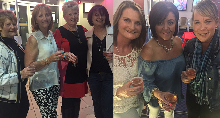 Barbara Frost,Rhonnie Shaw, Cathy Turner and Kylie Baker toasting the success of the night (photo Jewell Drury)(left) Best friends Kylie Mather, Jo Hedge and Corie Gibson enjoying the evening.(photo Jewell Drury)(right)