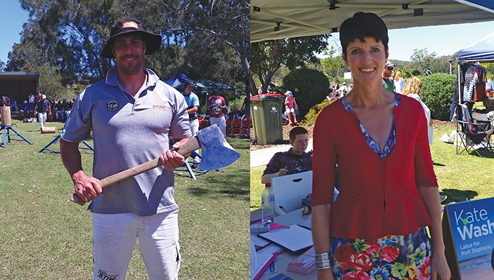 KARUAH: Australia's World Champion axeman Brad Delosa. KARUAH: Port Stephens MP Kate Washington.