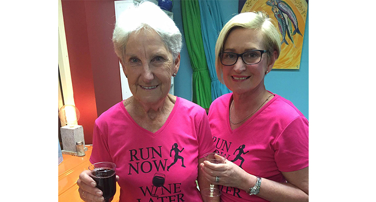 Leslie Filmer (Fox) and Founder Clare Van Doon enjoying a wine after their run. Photo: Jewell Drury