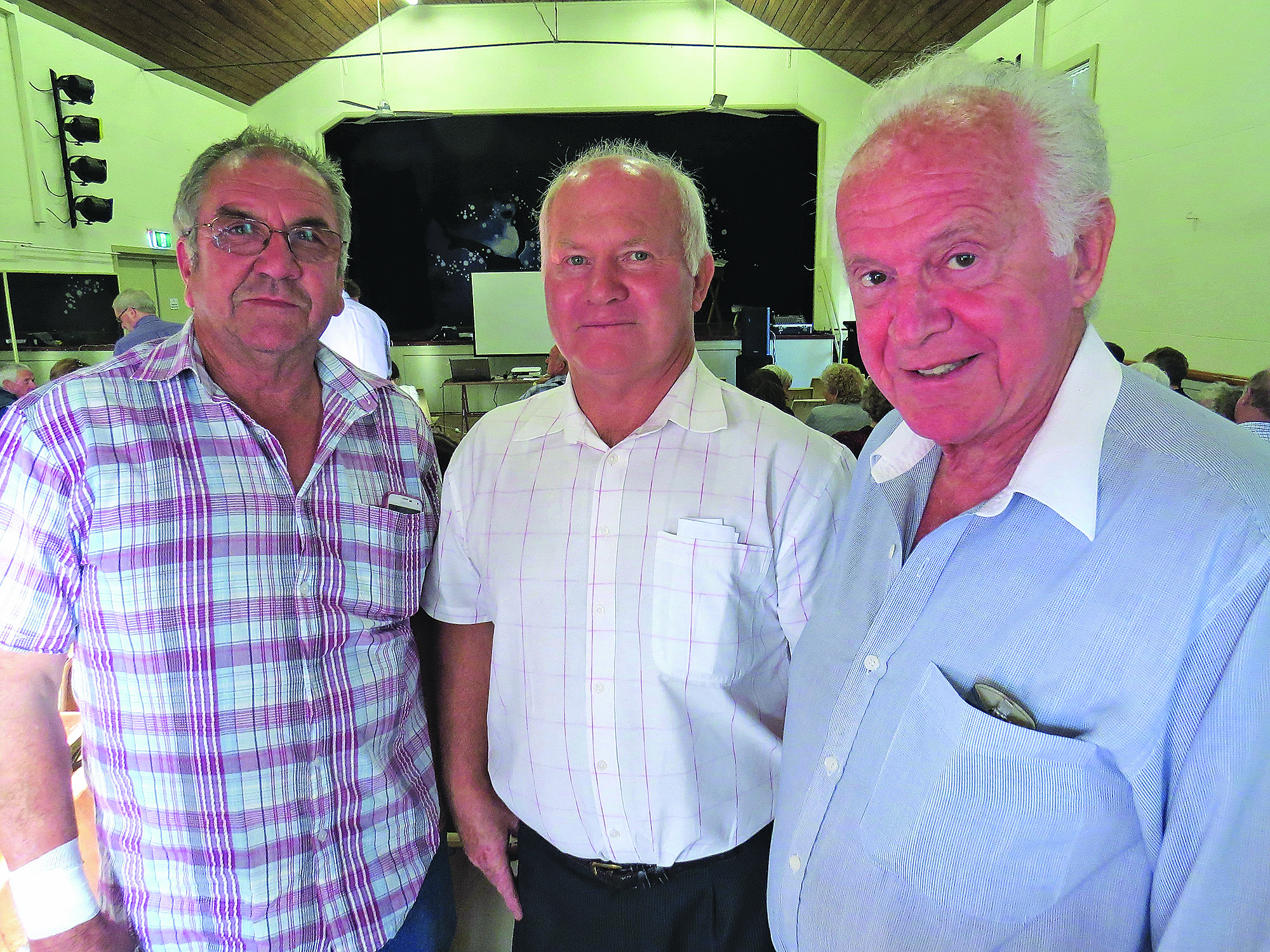 DISCUSS: Community members Arthur Baker and Kevin Aitken with Peter Kampfner.