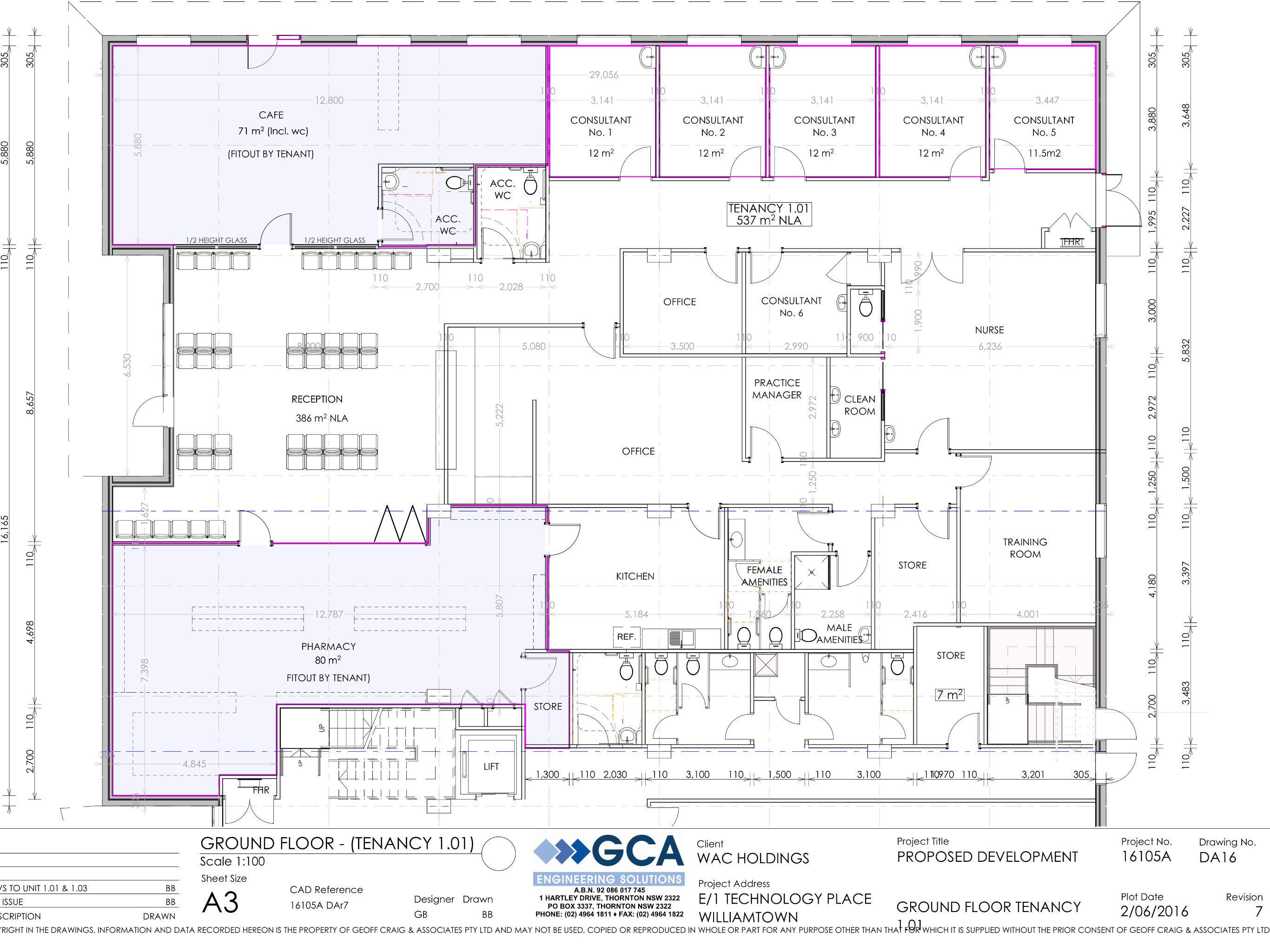 Plans for one of two floors of the new centre.