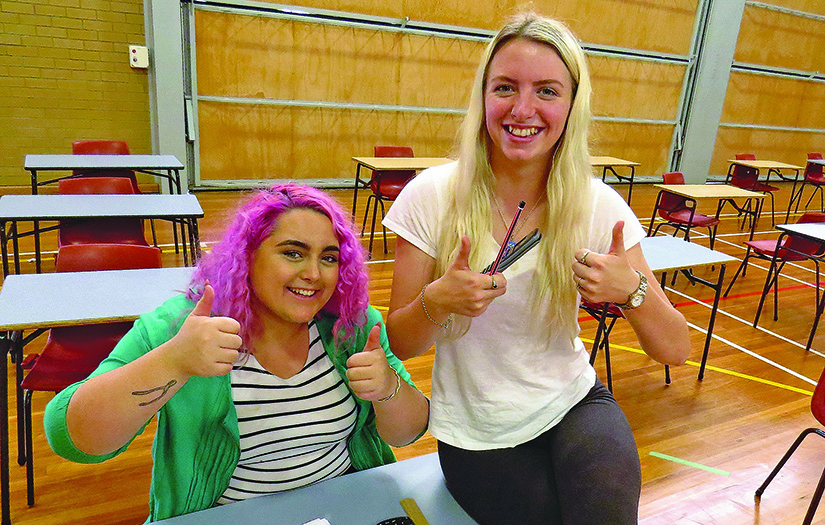 HSC EXAMINATION: Luana White and McKelty-Ray Searle pleased with the Mathematics exam.