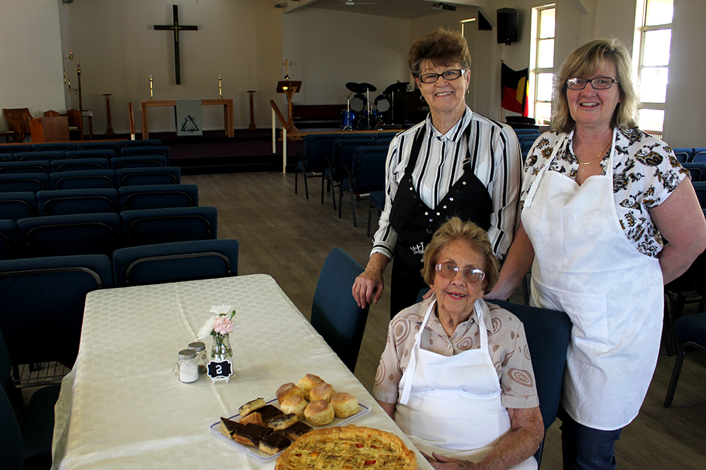 (back) Maggie Dominey,Verina Rallings and (seated) Beryl Howard at the Open Door Cafe. Photo by Jewell Drury