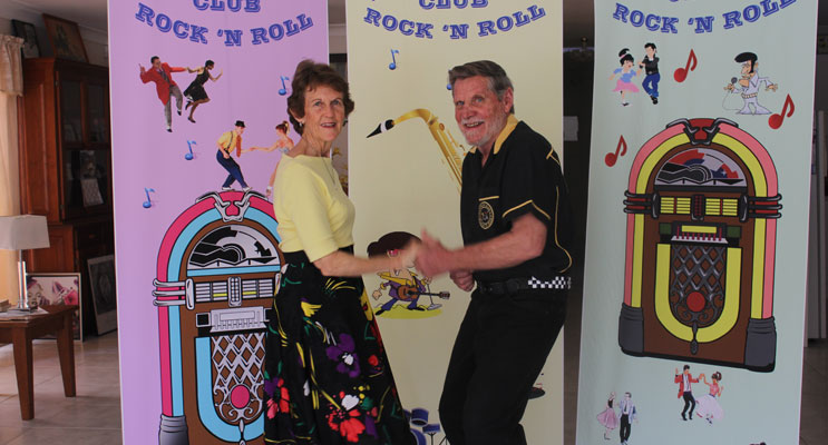 Nelson Bay Rock & Roll Club President and Secretary Keith and Diana Barnard warming up for the rockin weekend ahead. Photo: Jewell Drury