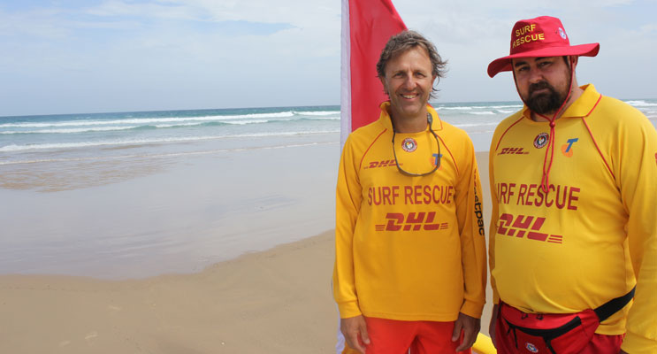 Birubi Point Surf Lifesavers Frank Van Druten and Tim Burns believe that drone technology makes more sense than drum lines. Photo: Jewell Drury