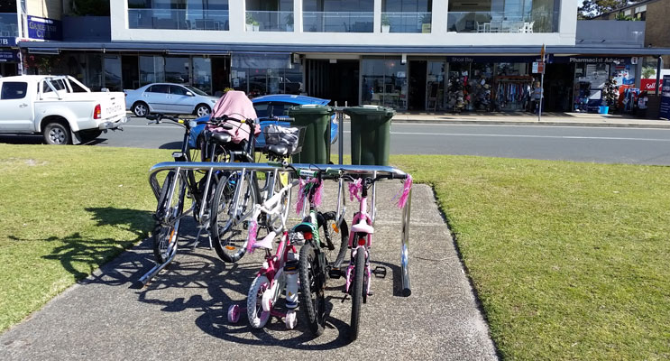 The new bike racks in action at Shoal Bay.