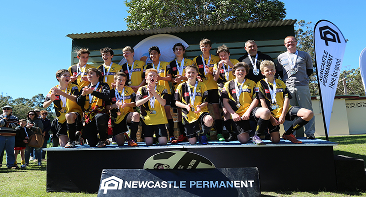 Medowie under 14's Soccer team after being presented with their grand final medals