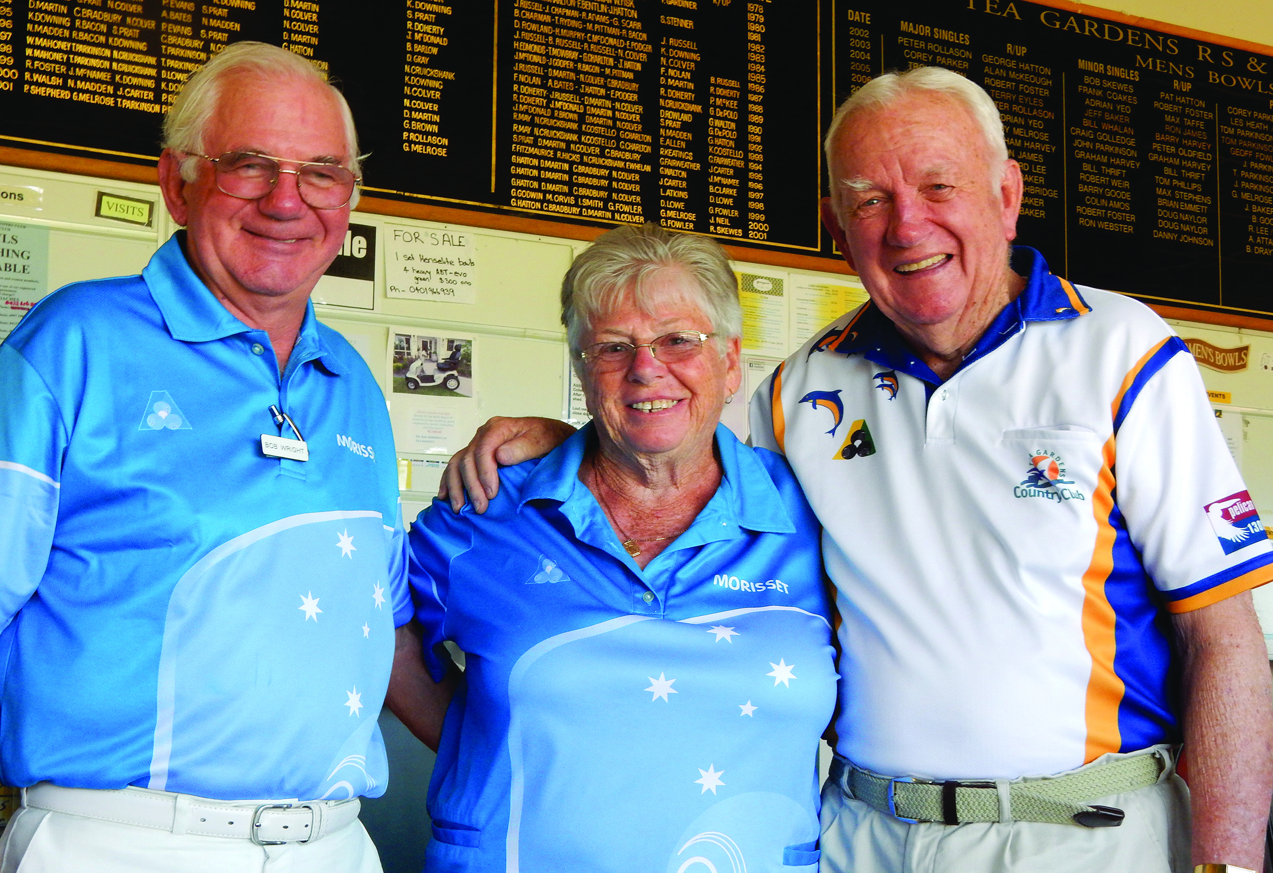 Picture shows Sunday Bowls winners, Bob Wright, Rose Courtney, (Morisset BC), and David Williams.