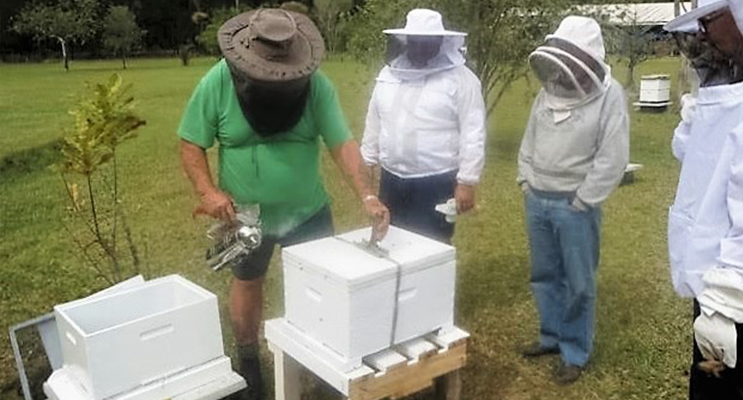 FIELD DAY: Beekeeper Gary Haynes gives a demonstration