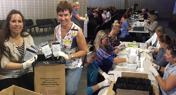 Bronwyn Gibbons (Anna Bay) and Ps Robyn McKewan organisers of the birthing kit fundraiser.(left) Some of the host of women who participated in packing the birth kits for Uganda. Photo: Bronwyn Gibbons (right)