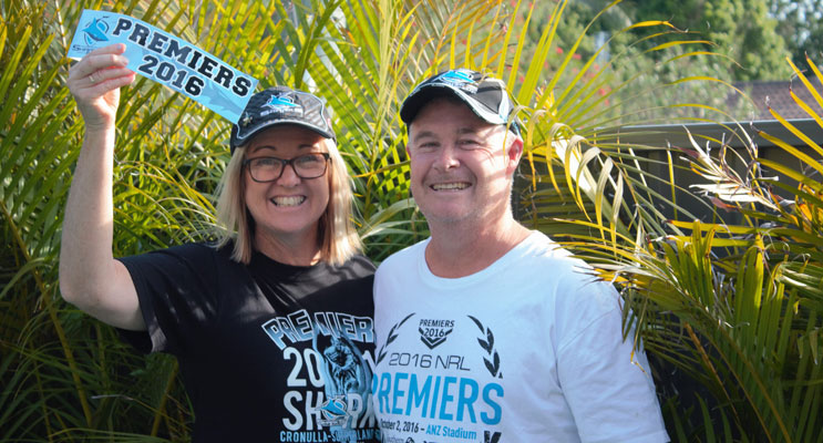 Dedicated Sharks fans, Anna Bay couple Debra and Matthew Stacey came home from Saudi Arabia in time to make the trek to ANZ Stadium to see their team win the Grand FInal. Photo by Debra Stacey