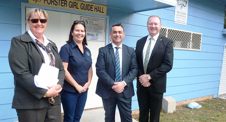 Member for Myall Lakes Stephen Bromhead and Minister for Regional Development John Barilaro met with Kerry Scott and Suzie McEnallay from Forster-Tuncurry Girl Guides to announce they'd help fund the remainder of their project.