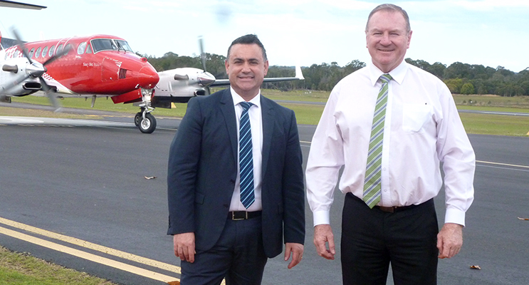 Member for Myall Lakes Stephen Bromhead and Minister for Regional Development John Barilaro visited Taree Airport on Tuesday, September 27 where work has commenced on a $705,800 upgrade.