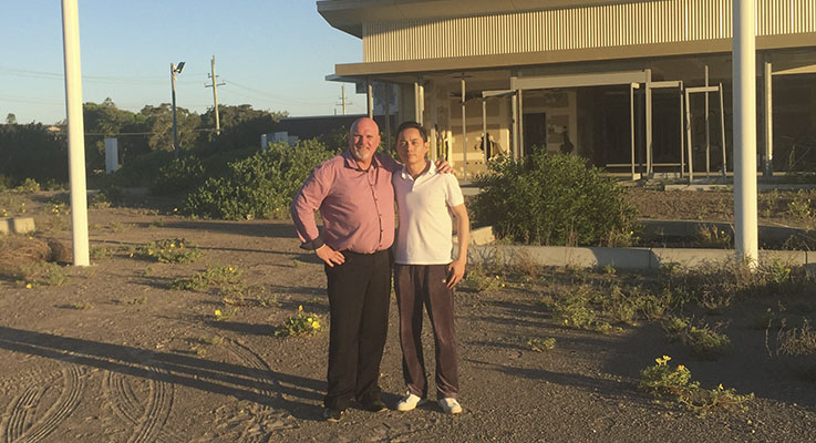 Deputy Mayor of Port Stephens Chris Doohan and new owner Wilson Hu at the Anna Bay Resort site.