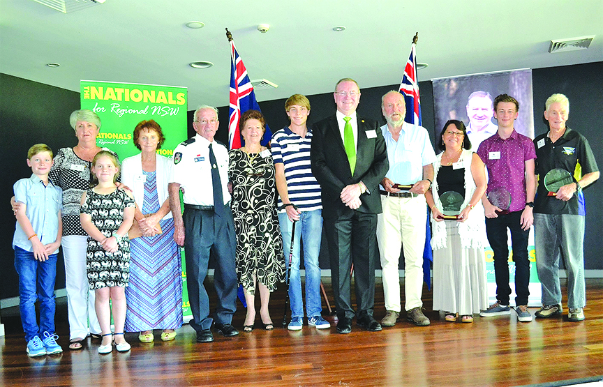 MYALL LAKES COMMUNITY AWARDS: Stephen Bromhead, special guests James Turner and emeritus mayor Jan McWilliams with all the award winners.