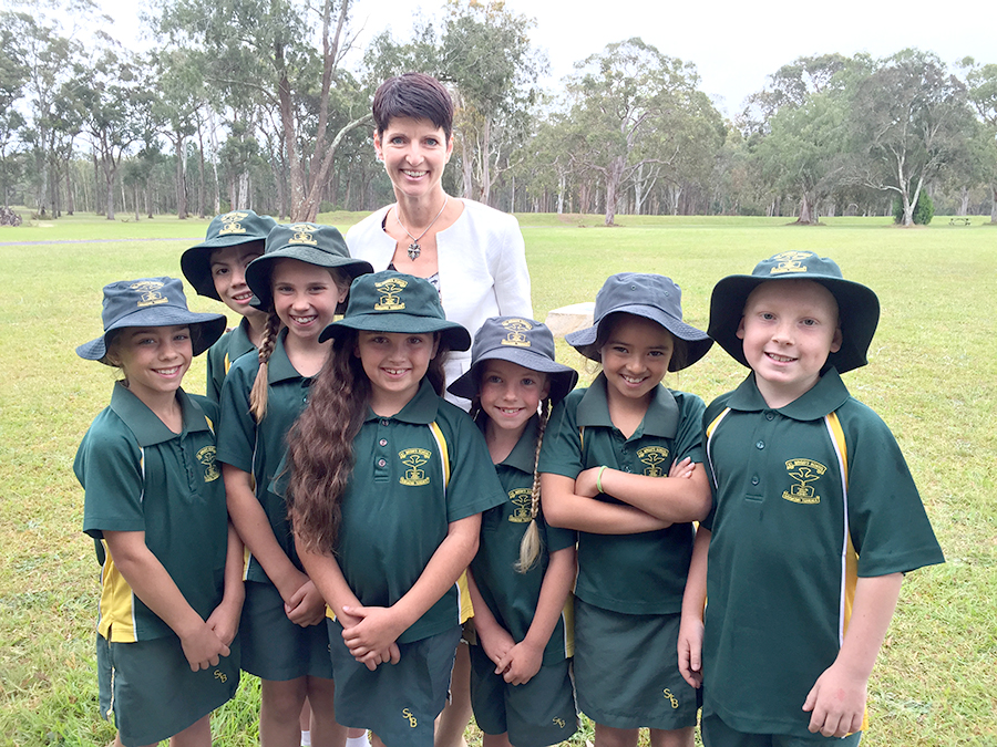 Kate Washington with Year 3 students from St.Brigid's Catholic Primary School - who will be 2020 Year 7 Students at Catherine McAuley College, Medowie.