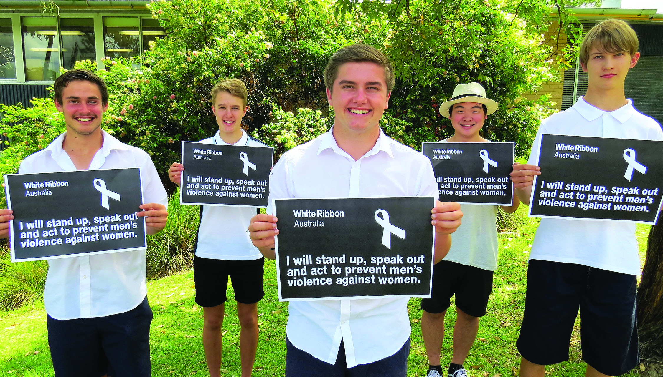 WHITE RIBBON OATH: Matthew Barry, Luke Rochester, Bailey Shultz, Timothy To and Darcy Harris.
