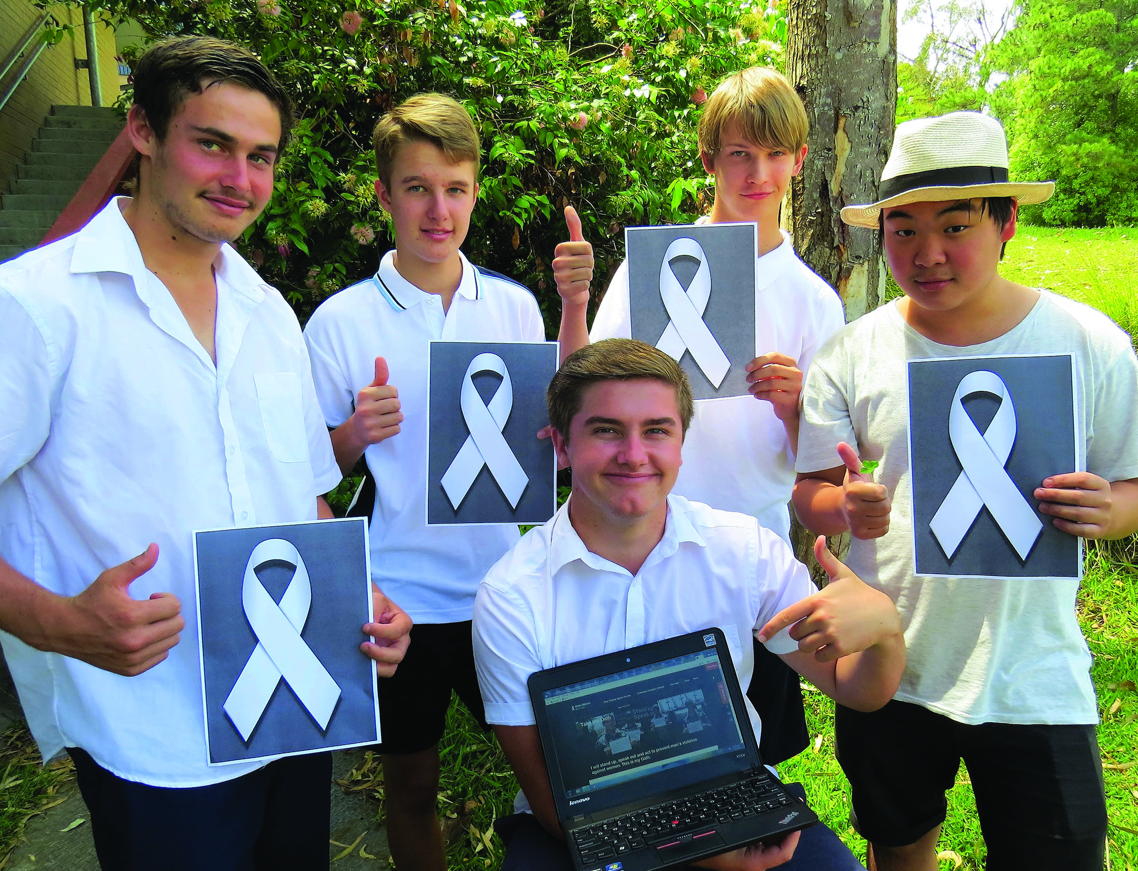 WHITE RIBBOn: Matthew Barry, Luke Rochester, Darcy Harris and Timothy To with Bailey Shultz taking the online oath.