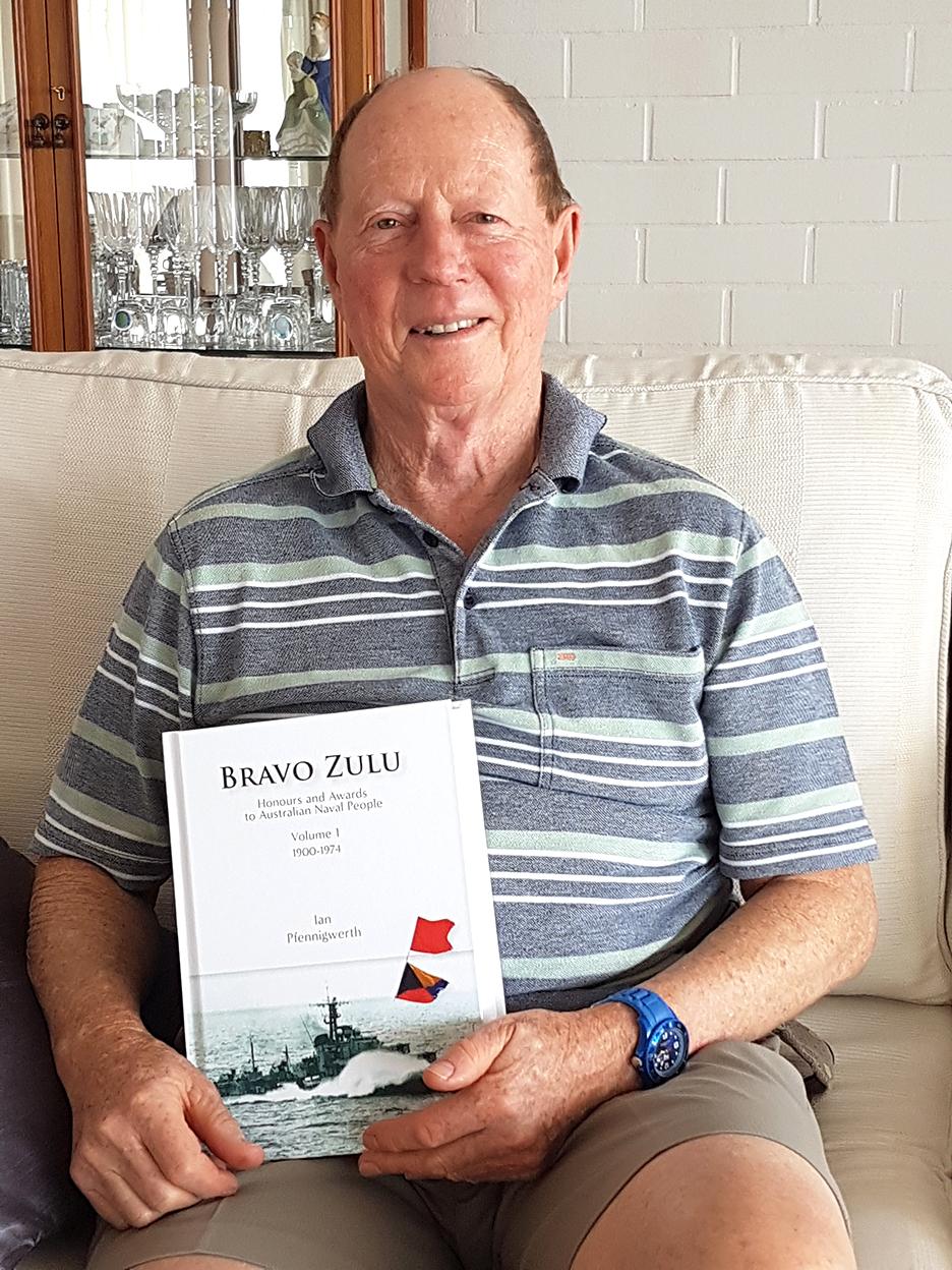 Ian Pfennigwerth with his book 'Bravo Zulu'.