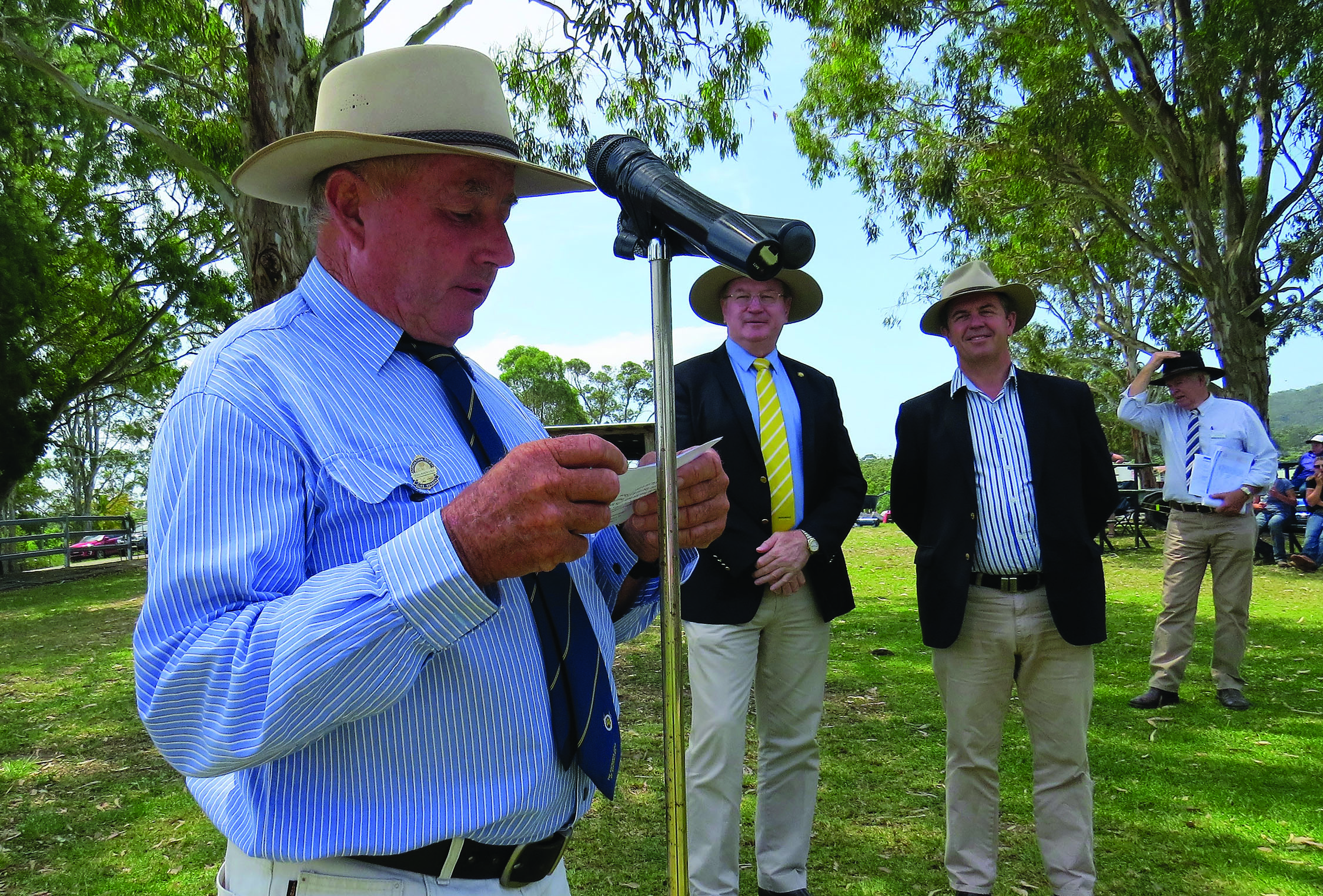 OFFICIAL OPENING:  Show President Gary Gooch with Member for Myall Lakes Stephen Bromhead and Federal Member for Lyne Dr David Gillespie