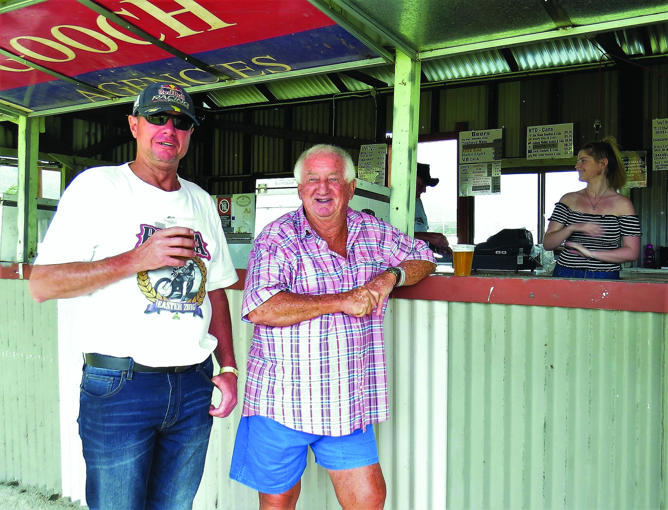 RENOVATED BAR SHED: Peter Crampton and Garry Griffis enjoy a drink at the bar