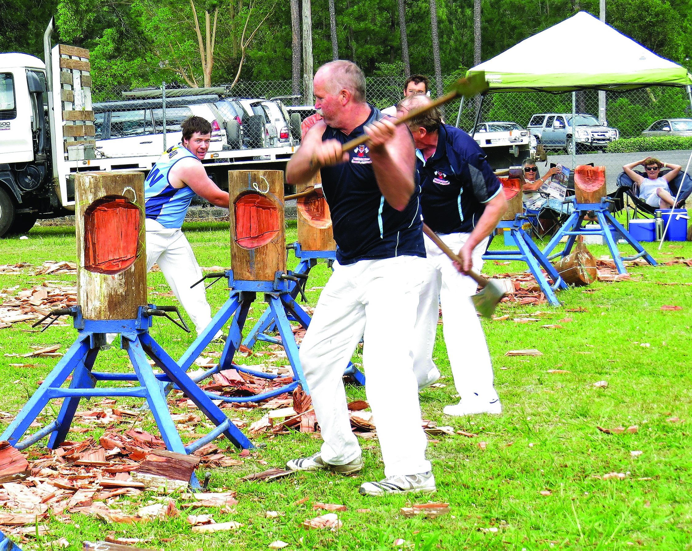 CHOP CHOP: Axemen show their skills in the woodchop competition