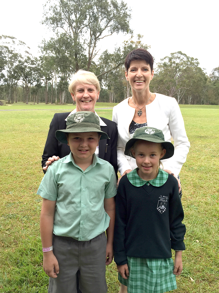 Kate Washington with the Principal and Year 3 students from St.Michael's Catholic Primary School - who will be 2020 Year 7 Students at Catherine McAuley College, Medowie.