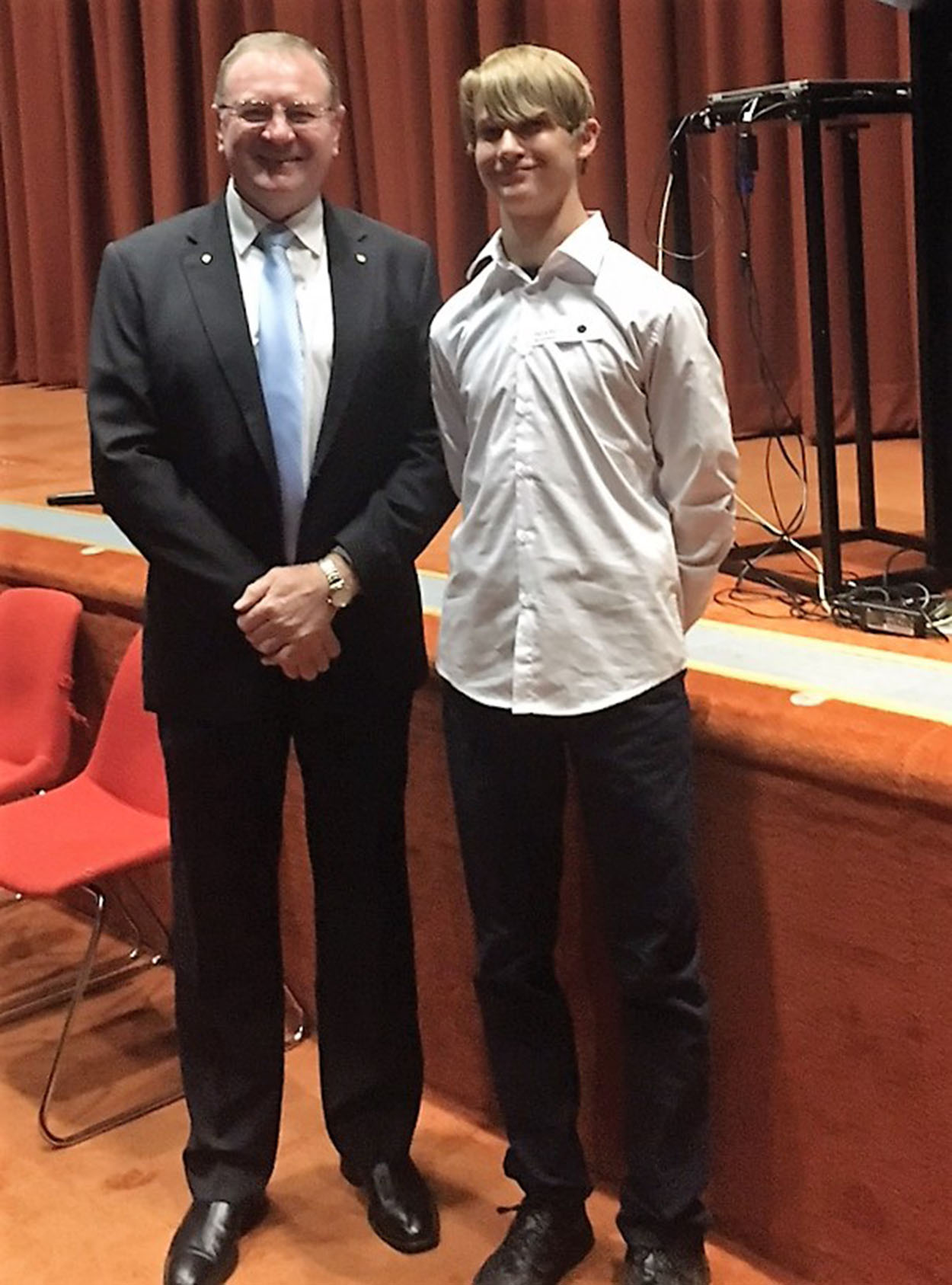 PARLIAMENT: Myall Lakes MP Stephen Bromhead with Darcy Harris.