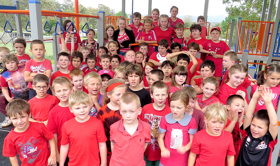 DAY FOR DANIEL: Bulahdelah Central School primary students dressed in red.