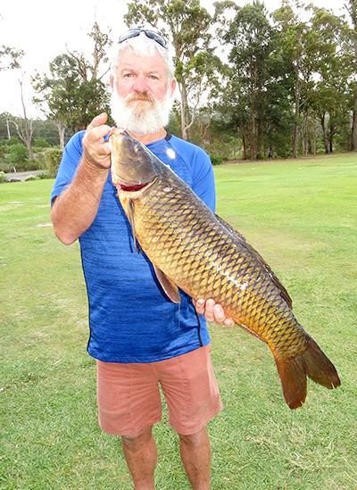 EUROPEAN CARP: Grant Bidgood with his 6.6kg catch.
