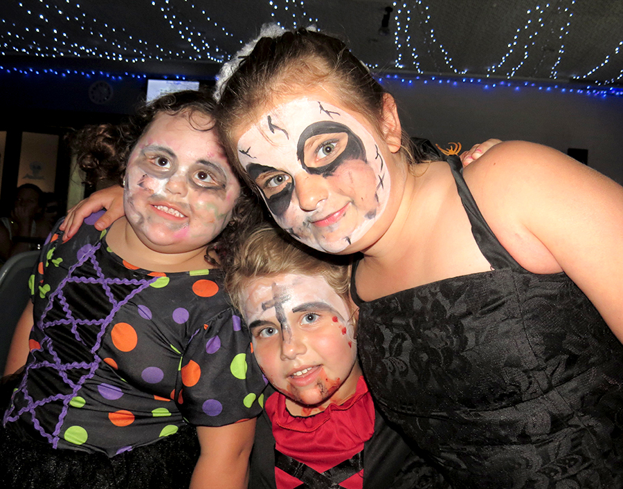 HALLOWEEN: Bella Watling, Paige Collinson and Amarlia Menton.