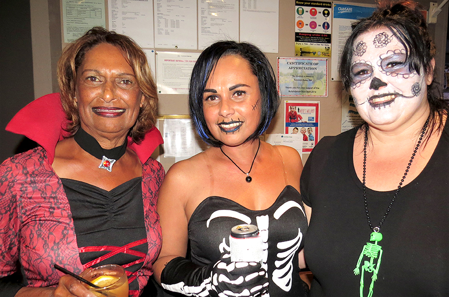 HALLOWEEN: Pam Saunders, Joedie Lawler and Sharon Briffa.